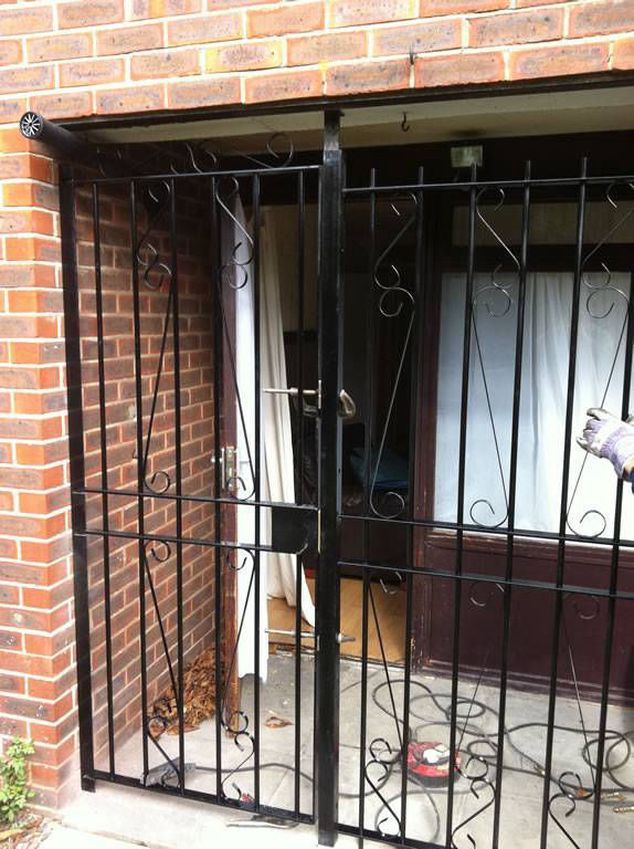 Front Door Iron gates, London, Essex and Kent. Total Front Door and porch pritection.